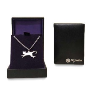 St Justin Silver Necklace Cat